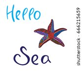hello sea. lettering. vector... | Shutterstock .eps vector #666215659