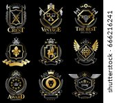 heraldic vector signs decorated ... | Shutterstock .eps vector #666216241