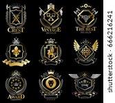 heraldic vector signs decorated ...   Shutterstock .eps vector #666216241