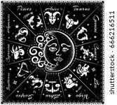 zodiac signs  horoscope  vector ... | Shutterstock .eps vector #666216511