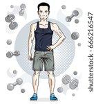 confident handsome brunet young ...   Shutterstock .eps vector #666216547