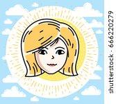 woman face  human head. vector... | Shutterstock .eps vector #666220279
