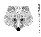 raccoon  zentangle style ... | Shutterstock .eps vector #666220747
