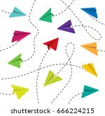 colorful paper airplanes. paper ... | Shutterstock .eps vector #666224215
