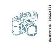 retro photo camera   hand drawn ... | Shutterstock .eps vector #666226531
