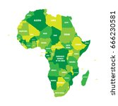 political map of africa in four ... | Shutterstock .eps vector #666230581