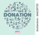 charity and donations. set with ...   Shutterstock .eps vector #666230725