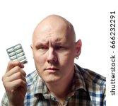 Small photo of Autoimmune total alopecia men portrait. Absolute bald head witho