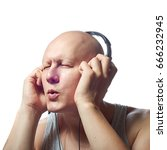 Small photo of Autoimmune total alopecia men portrait. Absolute bald head without eyebrows
