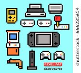 game center. pixel art.... | Shutterstock .eps vector #666235654