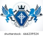 classy emblem  vector heraldic...   Shutterstock .eps vector #666239524