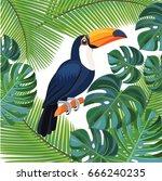 bright summer illustration with ... | Shutterstock .eps vector #666240235