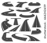 curved roads icon set. winding... | Shutterstock .eps vector #666242659