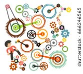 cogs   gears and man. vector.... | Shutterstock .eps vector #666246565