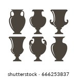 isolated vases on white... | Shutterstock .eps vector #666253837