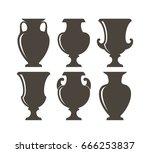 isolated vases on white...   Shutterstock .eps vector #666253837