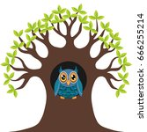owl in the tree hollow | Shutterstock .eps vector #666255214