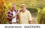 smiling father and son tasting... | Shutterstock . vector #666256081