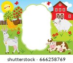 vector card template with farm... | Shutterstock .eps vector #666258769