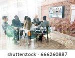 group of businesspeople having... | Shutterstock . vector #666260887