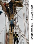 Small photo of Den Helder, Noord Holland / The Netherlands - June 24 2017 : Den Helder Sail 2017. People enjoying climbing in the rigging and aboard the world's largest Tall ships.