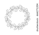 hand drawn outline floral wreath | Shutterstock .eps vector #666271204