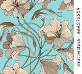 floral seamless pattern. flower ... | Shutterstock .eps vector #666272359