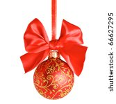 Red Christmas Ball And Bow Over ...