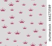 princess crown. seamless vector ... | Shutterstock .eps vector #666273589
