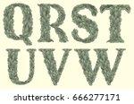 leafy font. design set. hand...   Shutterstock .eps vector #666277171