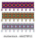 ethnic ornament with fringe | Shutterstock .eps vector #666278911