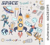 space themed doodle. vector... | Shutterstock .eps vector #666281095