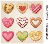 valentine day cookie set. heart ... | Shutterstock .eps vector #666286909