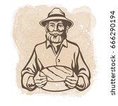 cheese maker  farmer  cheese... | Shutterstock .eps vector #666290194