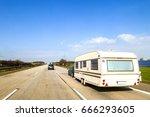 caravan or recreational vehicle ... | Shutterstock . vector #666293605