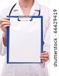 doctor holds clipboard with... | Shutterstock . vector #66629419