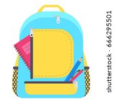 bag school flat isolated on... | Shutterstock .eps vector #666295501