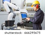 engineer using laptop computer... | Shutterstock . vector #666295675