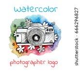 watercolor logo for... | Shutterstock . vector #666296827
