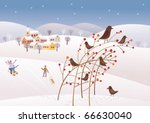 winter on the snowy highland | Shutterstock .eps vector #66630040