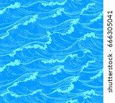 sea waves seamless pattern....   Shutterstock .eps vector #666305041