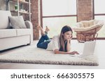 serious young lady is studying  ... | Shutterstock . vector #666305575