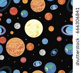 pattern  planets of the solar... | Shutterstock .eps vector #666306841
