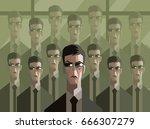 men in suit clones | Shutterstock .eps vector #666307279