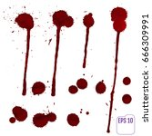 blood drip. vector red ink...   Shutterstock .eps vector #666309991