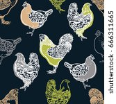 seamless pattern with cocks and ... | Shutterstock .eps vector #666311665