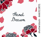 ard  invitation with peonies... | Shutterstock .eps vector #666311851