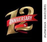 12 years anniversary golden... | Shutterstock .eps vector #666313831