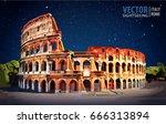 roman colosseum. rome  italy ... | Shutterstock .eps vector #666313894