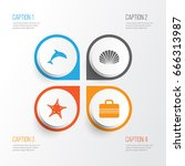 summer icons set. collection of ...   Shutterstock .eps vector #666313987